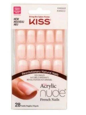 Kiss Kiss acryl kunst natural nagels nude recht 28 stuks