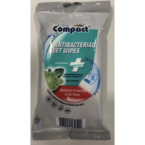 Ultra compact antibacterial wipes 15 stuks lemon