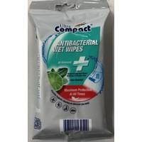 Ultra compact antibacteriele wet wipes 15 stuks lemon