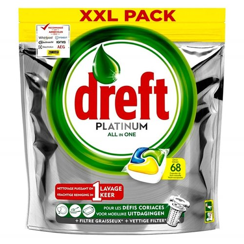 Dreft Dreft Platinum All In One - Vaatwastabletten 68 Stuks