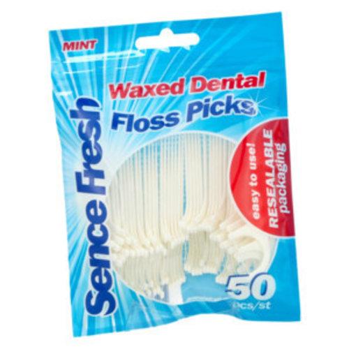 Sence Fresh - Mint Waxed Dental Floss Picks 50pcs