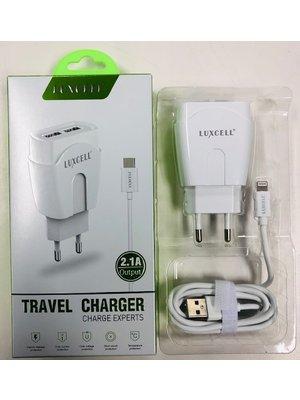 Luxcell - Adapter Met 2 Poorten 1 Iphone Oplader