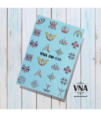 Vanilla Nail Art VNA Water Decal 3D 038