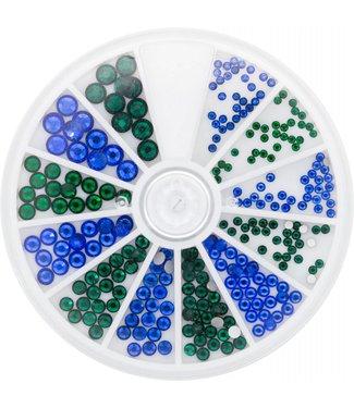 Magnetic Nail Design Strass Wheel Sapphire & Emerald 6 maten 270 st.