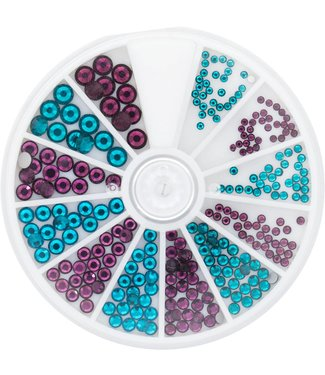 Magnetic Nail Design Strass Wheel Zircon & Amethyst 6 maten 270 st.