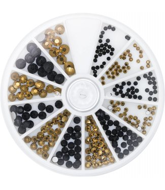 Magnetic Nail Design Strass Wheel Black & Gold 6 maten 270 st.