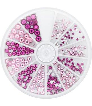 Magnetic Strass Wheel Rose & Fuchsia 6 maten 270 st.