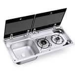 Dometic Dometic MO 9722L Kombination aus 2-flammigem Kochfeld und Spüle mit Glasdeckel, 760 x 325 mm
