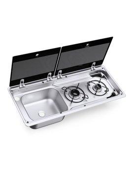 Dometic Dometic MO 9722L Kombination aus 2-flammigem Kochfeld und Spüle