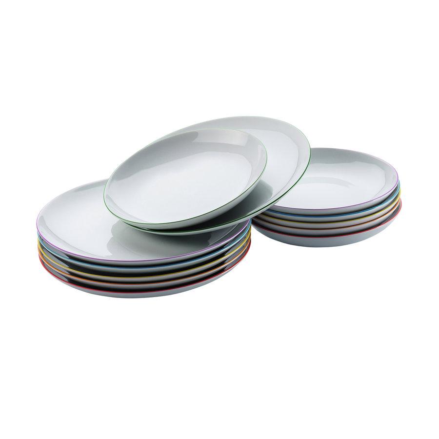 Dinnerset 6 platte en 6 diepe borden Cucina Colori-1