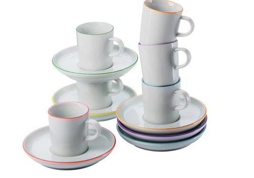 Arzberg Set 6 espressokop en schotel Cucina Colori