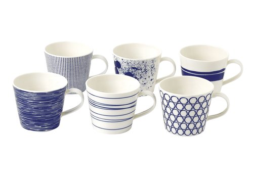 Royal Doulton Set 6 bekers met oor Pacific Blue 45 cl