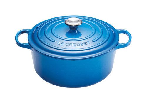 Le Creuset Stoofpot 28 cm blauw met deksel gietijzer