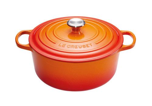 Le Creuset Stoofpot 28 cm oranje volcanique met deksel gietijzer