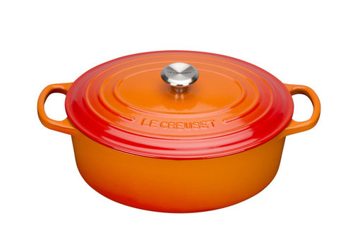 Le Creuset Ovale stoofpan 35 cm oranje volcanique gietijzer