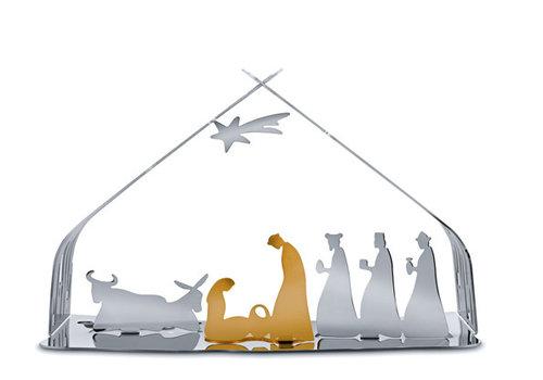 Alessi Kerststal rvs met Jezus, Maria en Jozef goudkleurig