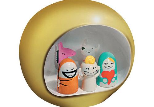 Alessi Kerststal goud met 5 figuren