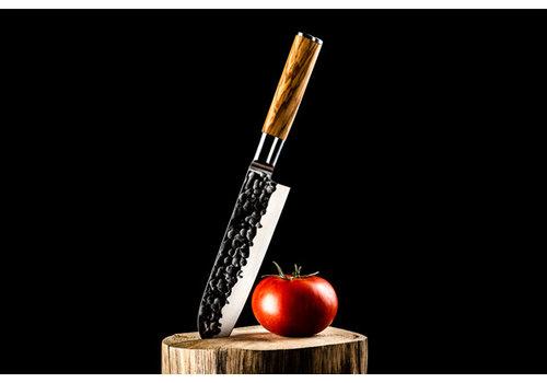 Style de Vie Authentique Santokumes 18 cm olijfhout gesmeed lemmet Olive Forged