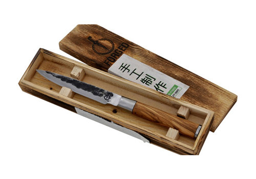 Style de Vie Authentique Universeel mes 12,5  cm olijfhout gesmeed lemmet Olive Forged