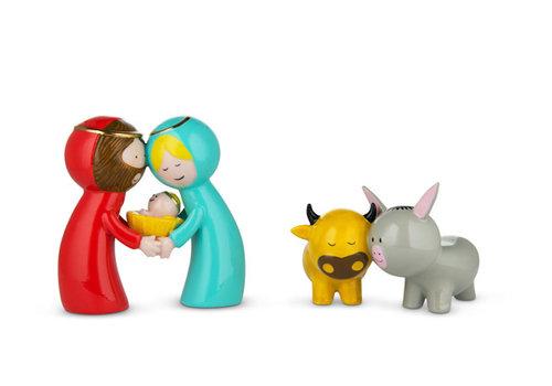 Alessi Jezus-Maria-Jozef met os en ezel porselein - Kerstdecoratie
