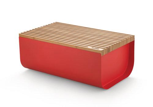 Alessi Brooddoos rood kunststof met bamboe deksel