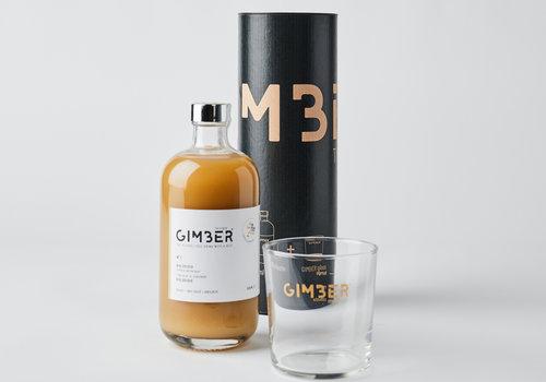 Gimber Koker met fles Gimber van 50 cl en glas met Gimber-logo