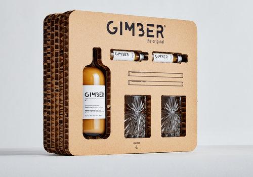 Gimber Kit met fles Gimber van 50 cl, 2 shots, glazen en glazen rietjes