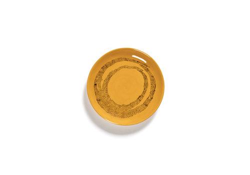 Serax Bordje 16  cm Feast Ottolenghi  geel met blauwe streepjes