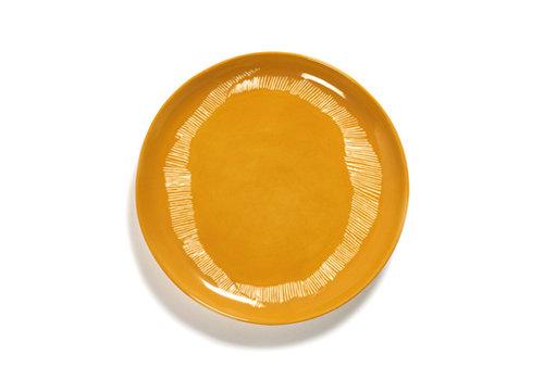 Serax Dessertbord 22.5 cm Feast Ottolenghi - geel met witte streepjes