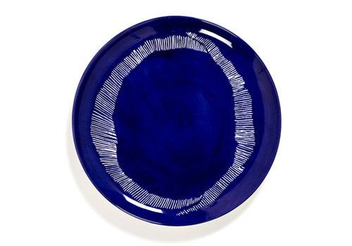 Serax Plat bord Feast Ottolenghi 26.5 cm blauw met witte streepjes