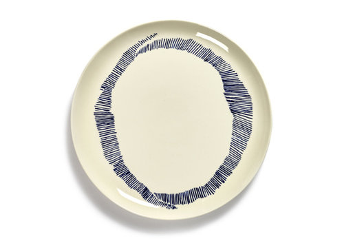 Serax Plat bord Feast Ottolenghi 26.5 cm wit met blauwe streepjes