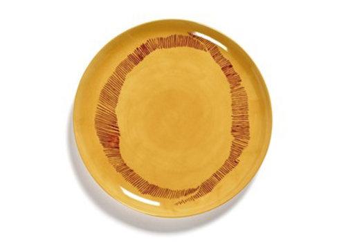 Serax Plat bord Feast Ottolenghi 26.5 cm geel met rode streepjes