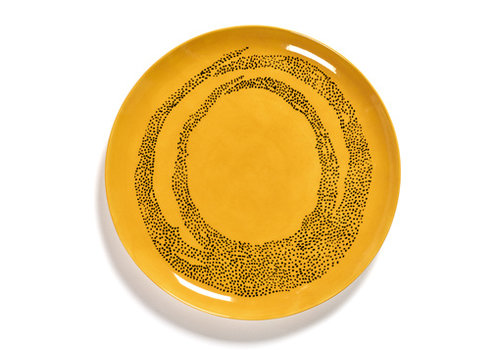 Serax Plat bord Feast Ottolenghi 26.5 cm geel met zwarte stippen