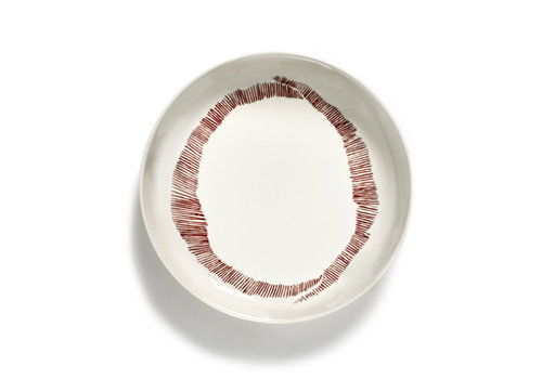 Serax Diep bord 22 cm Feast Ottolenghi wit met rode streepjes