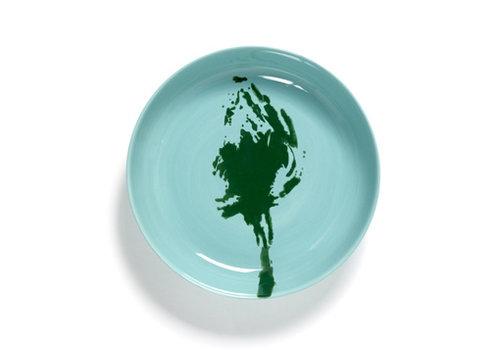 Serax Diep bord 22 cm Feast Ottolenghi azuur met groene paprika