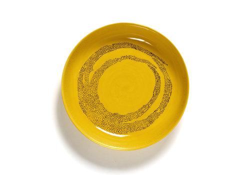 Serax Diep bord 22 cm Feast Ottolenghi geel met zwarte stippen