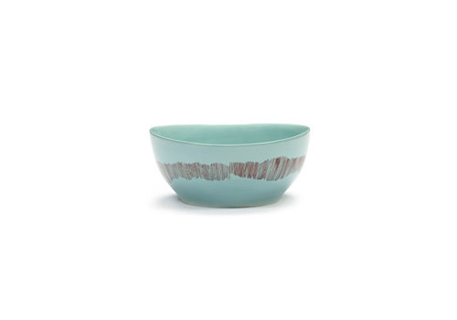 Serax Bowl / Kom 16 cm Feast Ottolenghi azuur met rode streepjes