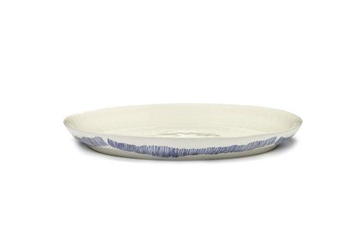 Serax Serveerschaal 35 cm Feast Ottolenghi wit met blauwe streepjes