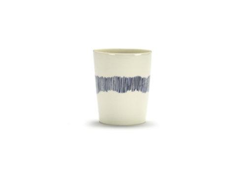 Serax Theekop  Feast Ottolenghi 33 cl wit met blauwe streepjes