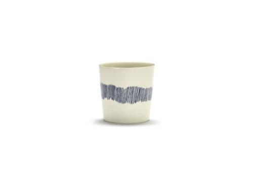 Serax Koffiekop  Feast Ottolenghi 25 cl wit met blauwe streepjes