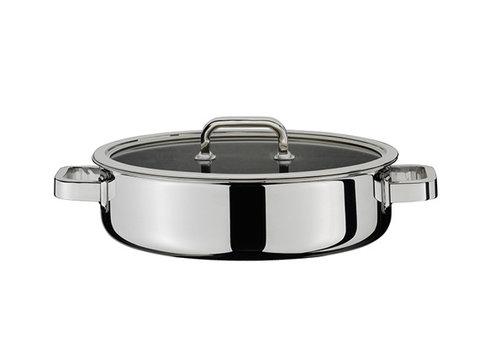 Spring Kookpot laag / gourmetpot / sudderpot 28 cm Finesse met glasdeksel