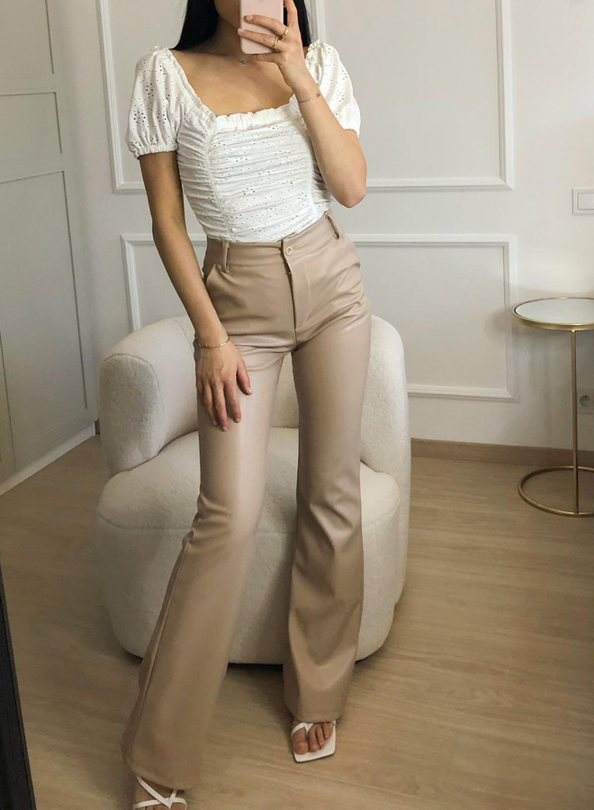 MADISON PU LEATHER TROUSERS - BEIGE