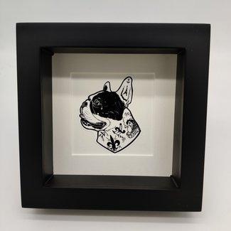 Print hond tattoo in lijst (16x16)