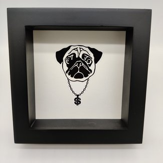 Print mopshond in lijst (16x16)