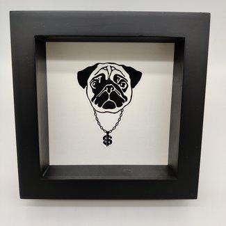 """Print pug in frame (6.3""""x6.3"""")"""