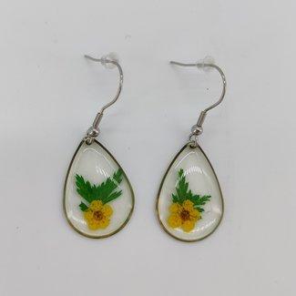 Earrings yellow dried flower
