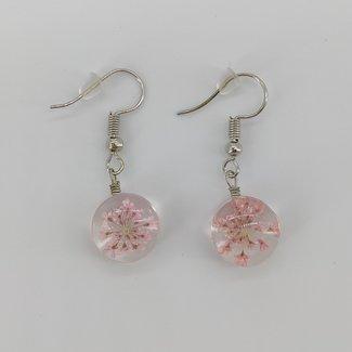 Oorbellen roze droogbloem
