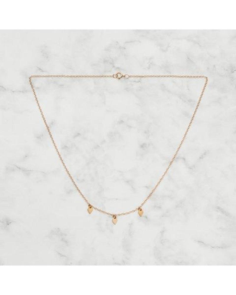 Koi d'Azur KDZ - 3 Dangling Diamonds Necklace | Gold