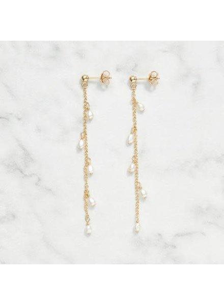 Koi d'Azur KDZ - Dangle Pearls Stud La boucle d'oreilles | Gold