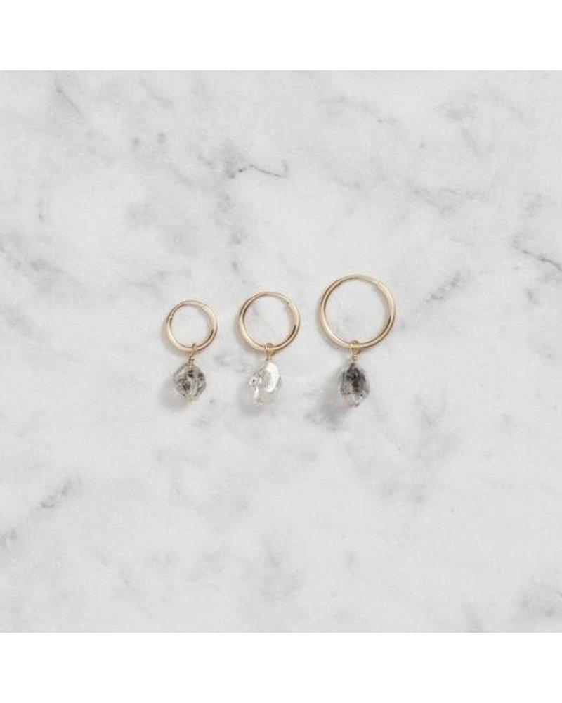 Koi d'Azur KDZ - Gold Hoop Earring - Herkimer Diamond